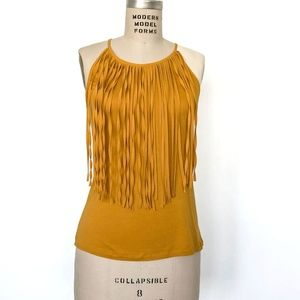 ZARA - Yellow Fringe Front Knit Halter Top